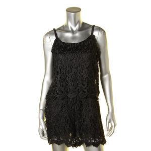 Romeo & Juliet Couture Black Lace Romper Dress L
